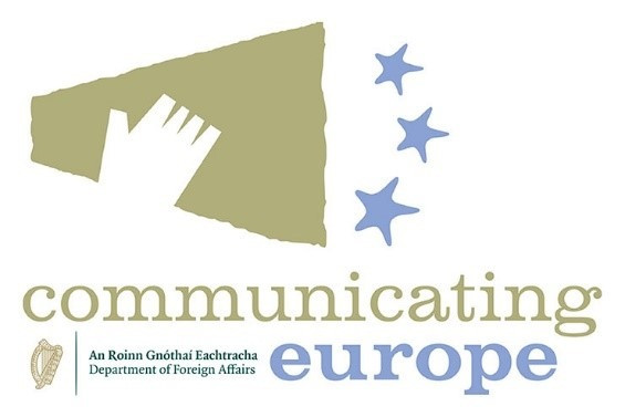 Communicating Europe logo with a bullhorn and stars