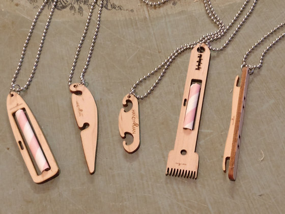 Set of 5 Miniature Weaving Shuttle Necklaces