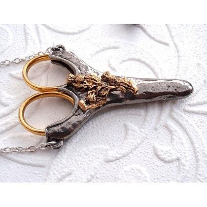 "Scottish Thistle Chatelaine with Etui Scissors 2 3/4"""