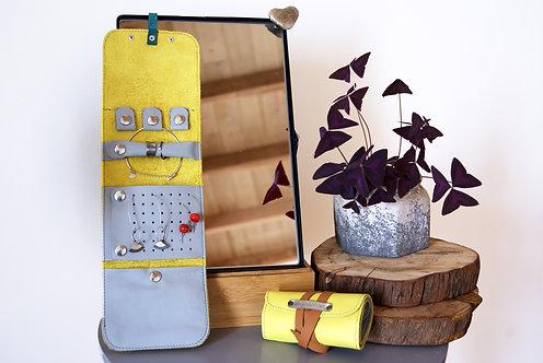 organisateur pochette bijoux cuir recyclé bagpackart artisanat fait main pièce unique