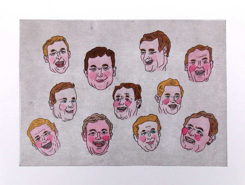 Little Heads, 2017, hand coloured etching on paper, 40 x 30cmm