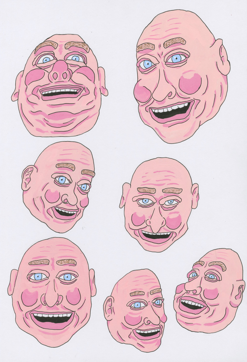 Smiling Heads, 2019, ink and gouache on board, 42 x 29.7cm