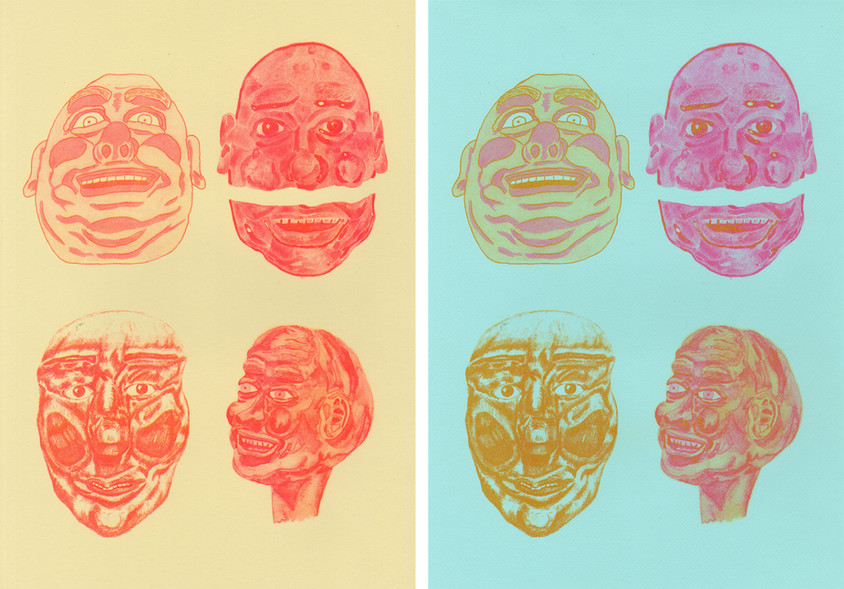Ugly Mugs, 2019, 2 colour risograph on Fabriano Tiziano, 42 x 29.7cm