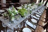 Centerpieces on a farmhouse table