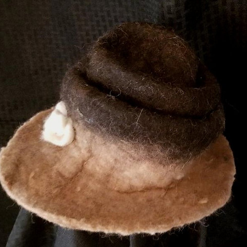 Brown and Fawn (camel color) Alpaca Hat