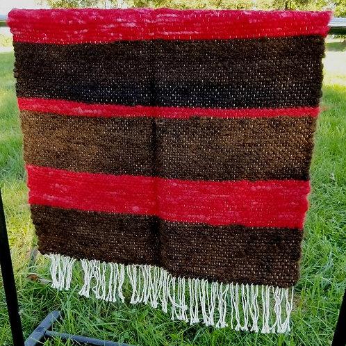 Red and Dark Brown Alpaca Rug