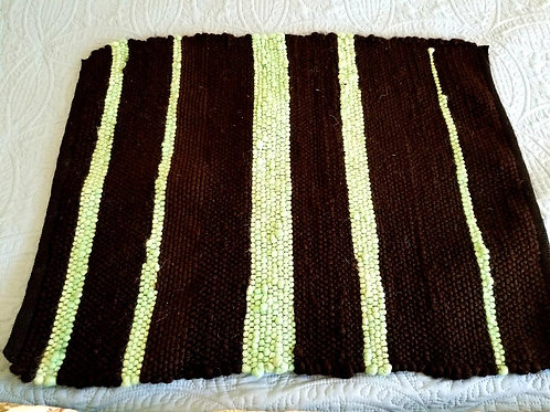 Alpaca Rug, Dark Brown/Black and Mint Green