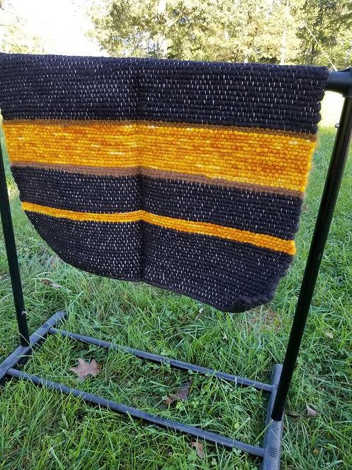 Dark Brown and Gold Alpaca Rug