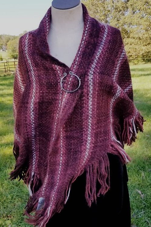Light Weight Alpaca, Maroon and White Stripe