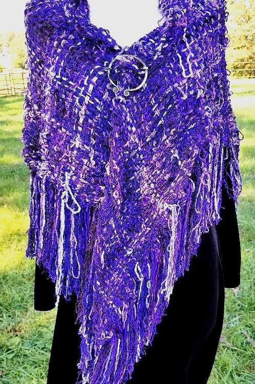 Chenille Shawl, Purple/Blues and Gray