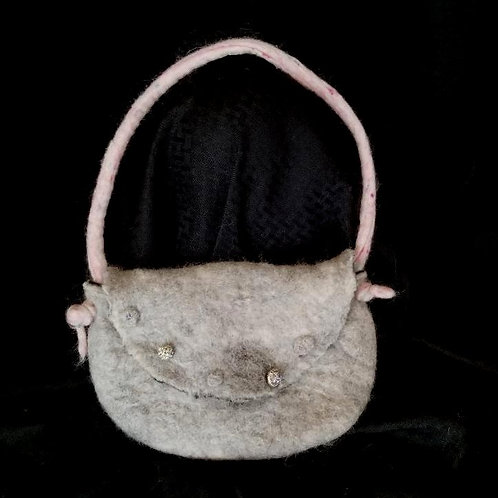 Gray Alpaca Bag with Pale Pink Handle