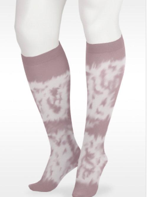 Juzo Soft Tie Dye Knee High Socks- Pink & White, 20-30mmHg or 30-40mmHg