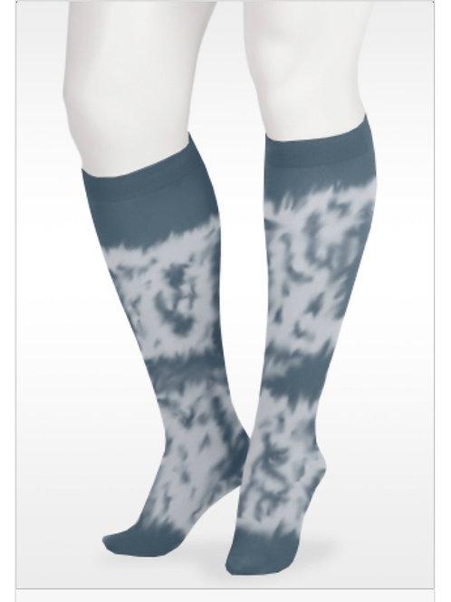 Juzo Soft Tie Dye Knee High Socks- Navy & White, 20-30mmHg or 30-40mmHg