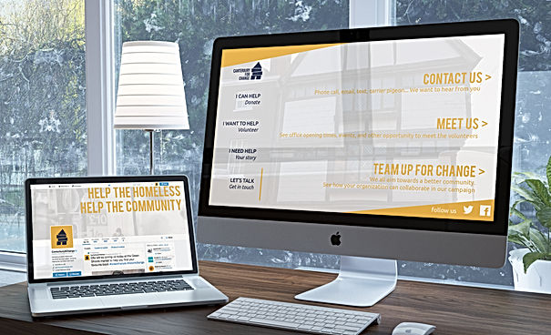 Mockup of the new website and social page for Canterbury for Change