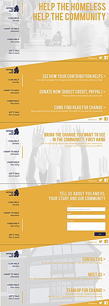 Mockup for the entire one-page site for Canterbury for Change