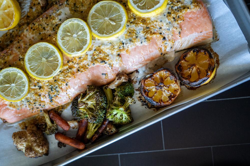 Salmon with Everything Mustard Glaze