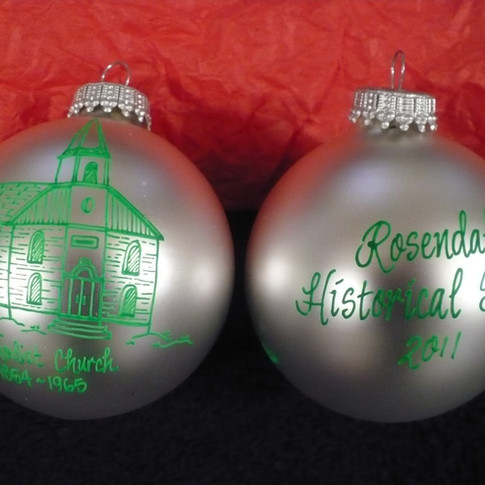 Methodist Church Glass Hand Painted Ornaments