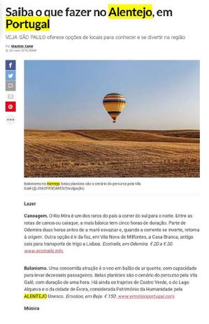 Matéria sobre opções de lazer no Alentejo publicada na Veja São Paulo