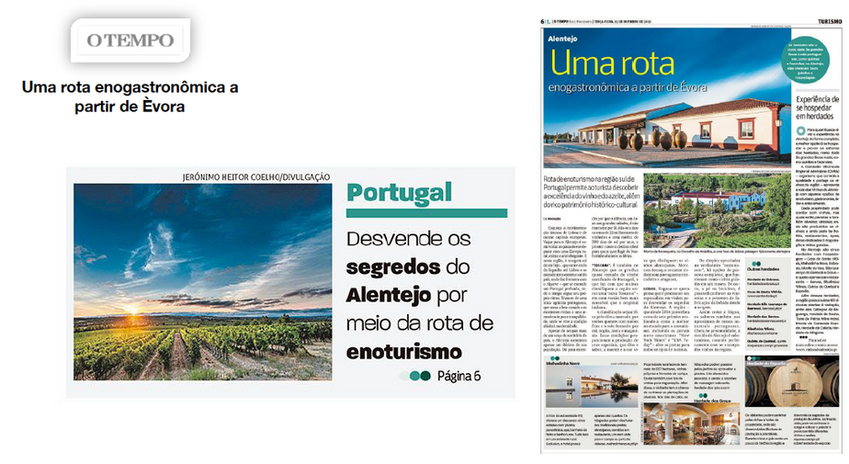 Reportagem sobre a rota de enoturismo do Alentejo publicada no jornal O Tempo