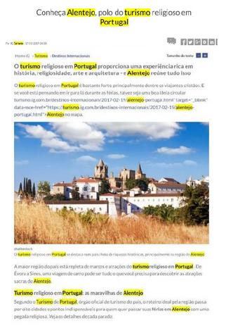 Reportagem sobre um roteiro de turismo religioso no Alentejo no portal IG Turismo