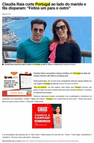 Matéria no portal Caras repercutindo a viagem de Claudia Raia para a Madeira