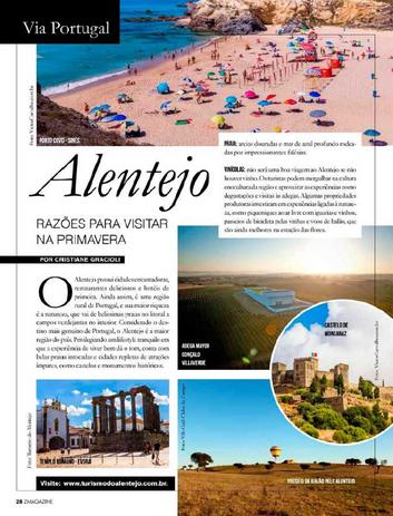 Matéria sobre as razões para visitar o Alentejo na primavera na revista Z Magazine