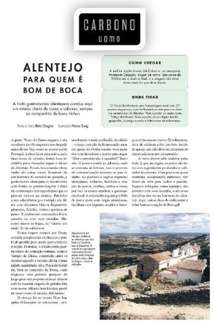 Matéria sobre gastronomia alentejana publicada na revista Carbono Uomo
