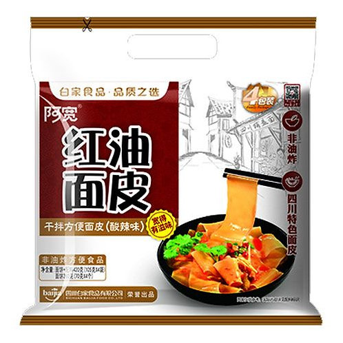 Baijia A-Kuan Red Oil Flat Noodles 115g x 4 白家阿寬紅油麵皮