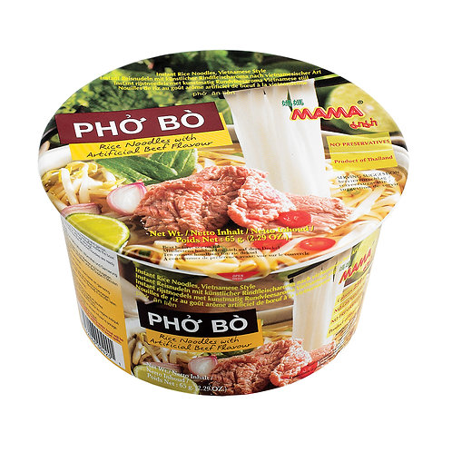 Mama Bowl Noodles Pho Bo (Beef Flavour) 6 Bowls Pack