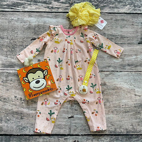 Girl Coverall Romper Tropical Jungle