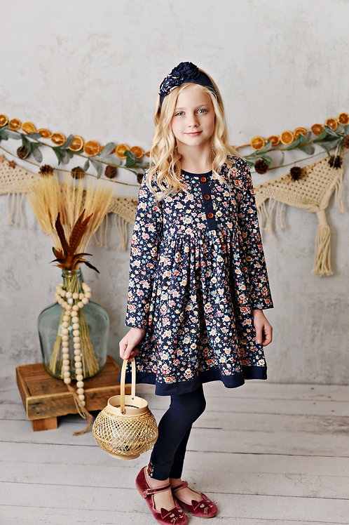 Harvest Fields Navy Bloom Dress with leggings
