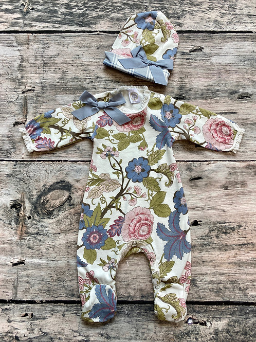 Floral Tapestry footed romper with hat