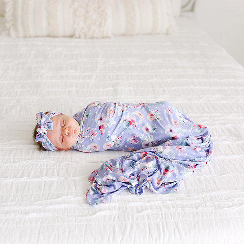 Samatha Swaddle & Headwrap Set