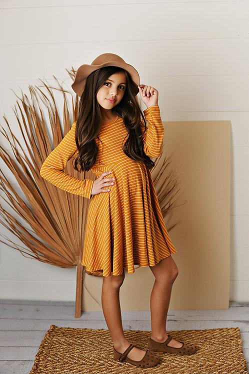 Marigold Stripe Ribbed Knit Dress