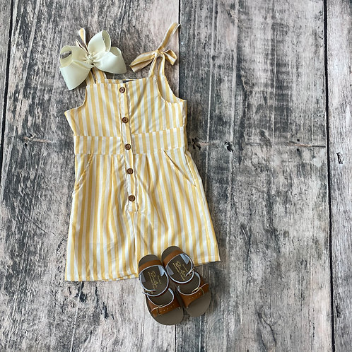 Kinsley Romper Mustard & White Stripe