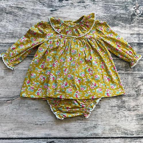 Mustard Floral Lace Collar Bloomer Set