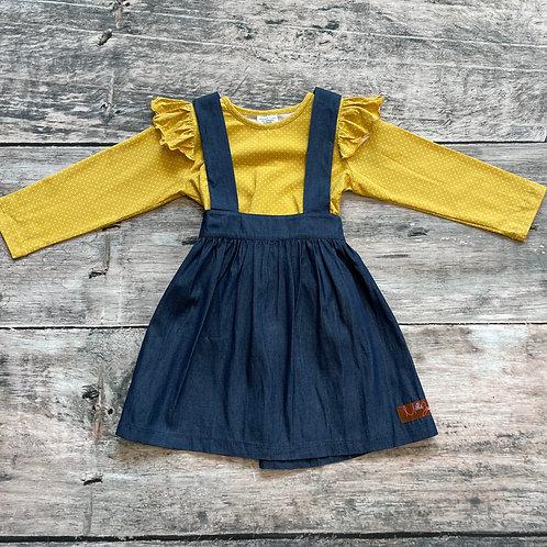 Denim & Mustard Dot Jumper Dress