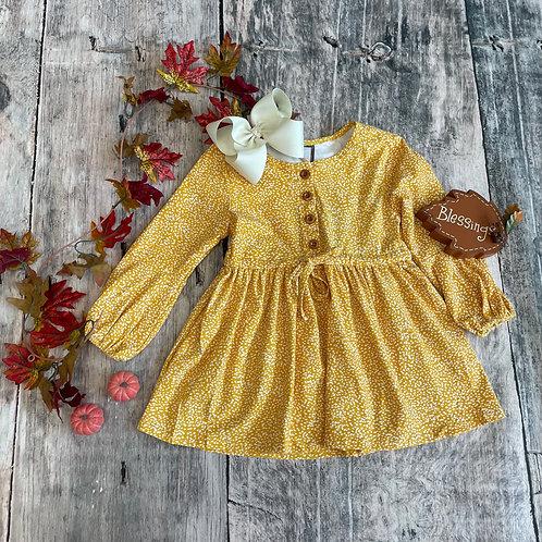 Emma Dress Mustard Dot