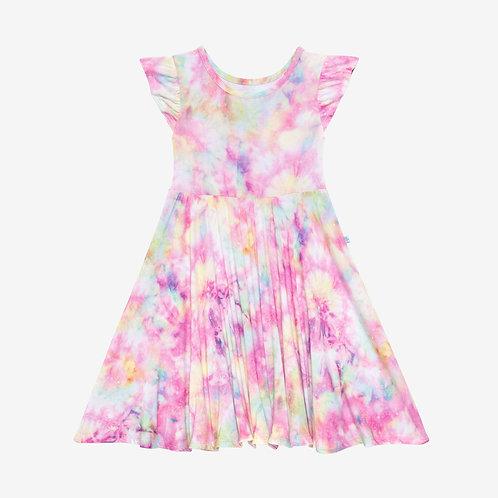 Joplin Ruffled Capsleeve Basic Twirl Dress