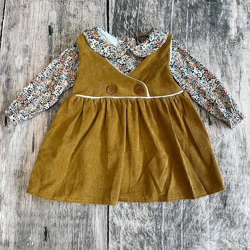 Bella Dress Mustard Floral 2pc