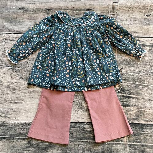 Gray Floral Lace Pant Set