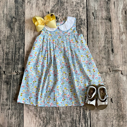 Pleated Dress-Blue Floral
