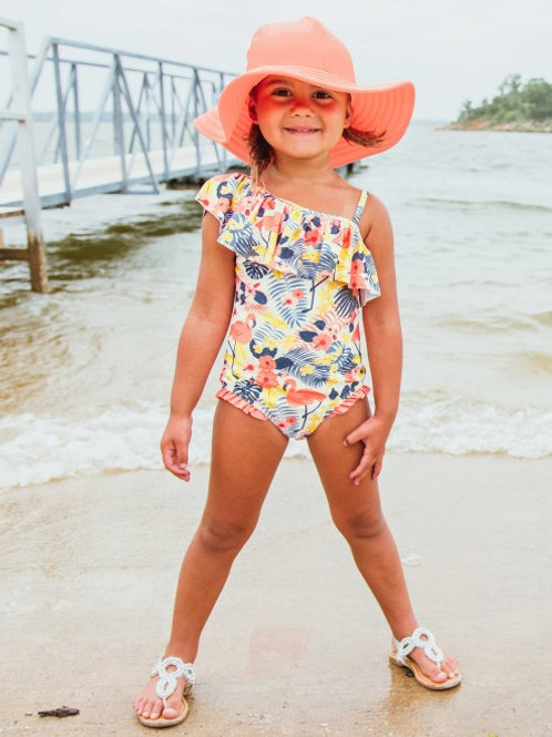 Tropical Flamingo One Shoulder Ruffle One Piece