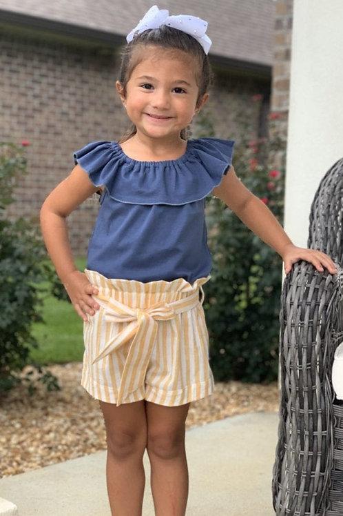 Scarlett Short Set Blue top & Mustard Stripe Shorts