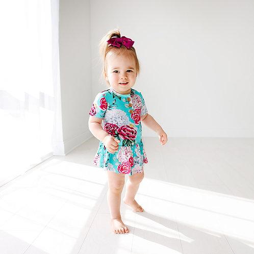 Eloise Short Sleeve Henley Twirl Skirt Bodysuit