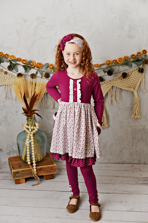 Mulberry Fields Pocket Frill Dress with leggings