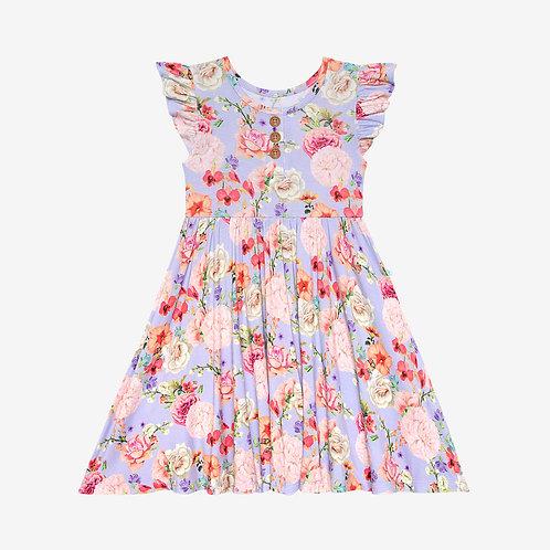 Bellamy Ruffled Capsleeve Henley Twirl Dress
