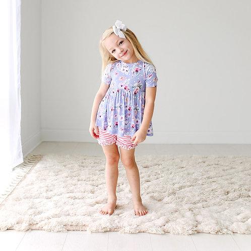 Samantha Basic Short Sleeve Peplum Top & Ruffled Shorts