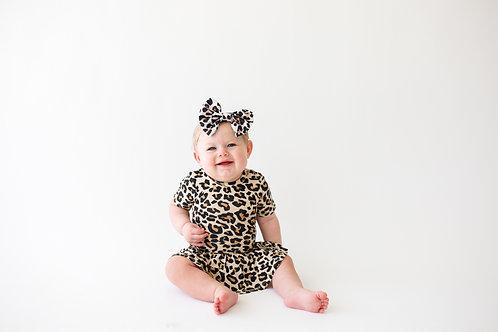 Lana Leopard Tan Short Sleeve w/Twirl Skirt Bodysuit