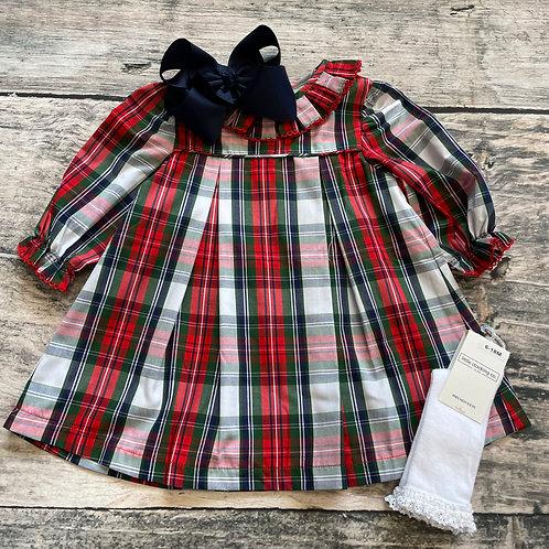 Christmas Plaid Pleated Collar Dress